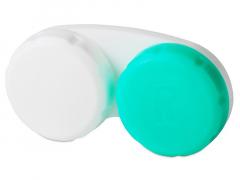 """Zielono-biały pojemnik na soczewki z literą """"R"""""""
