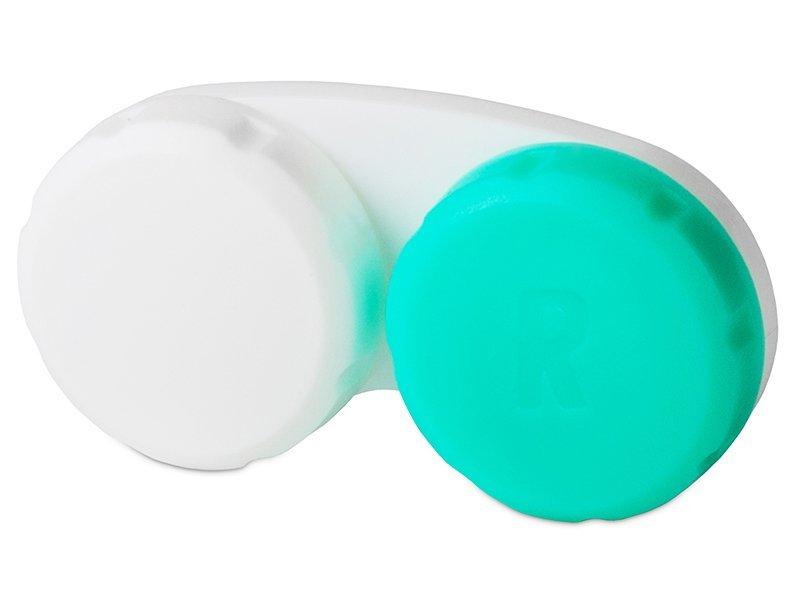 Zielono-biały pojemnik na soczewki z literą