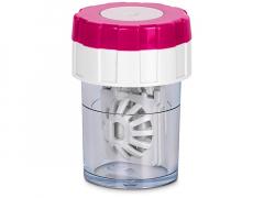 Obrotowy pojemnik na soczewki - różowy
