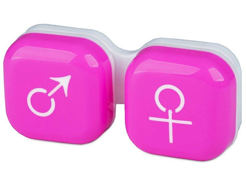 Pojemnik na soczewki man&woman - różowy