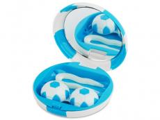 Pudełko na soczewki z lusterkiem Football - niebieskie