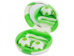 Pudełko na soczewki z lusterkiem Football - zielone