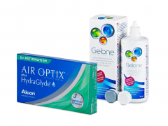 Air Optix plus HydraGlyde for Astigmatism (3 soczewki) + płyn Gelone 360 ml