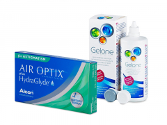 Air Optix plus HydraGlyde for Astigmatism (6 soczewek) + płyn Gelone 360 ml