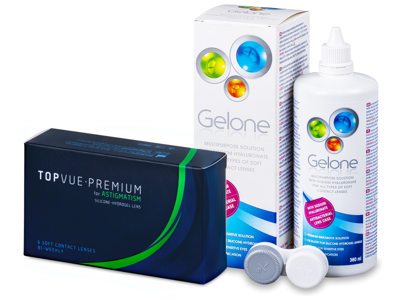 TopVue Premium for Astigmatism (6 soczewek) + płyn Gelone 360 ml