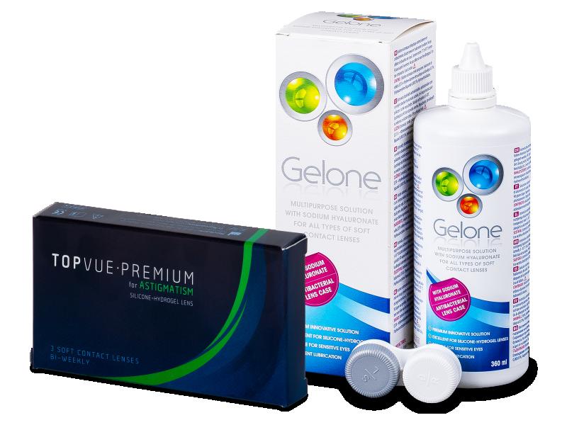 TopVue Premium for Astigmatism (3 soczewki) + płyn Gelone 360 ml