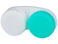 Biało-zielony pojemnik na soczewki z oznaczenimi L/R